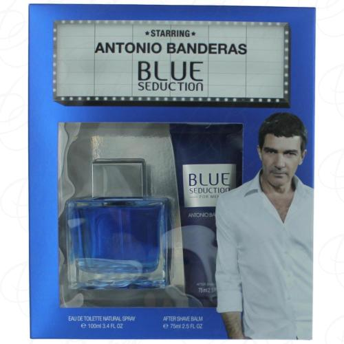 Набор ANTONIO BANDERAS BLUE SEDUCTION FOR MEN SET (edt 100ml+a/sh balm 75ml)