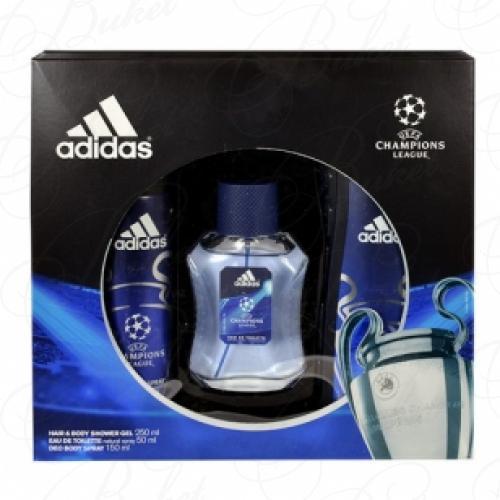 Набор ADIDAS UEFA CHAMPIONS LEAGUE SET (edt 100ml+deo 150ml+sh/gel 250ml)
